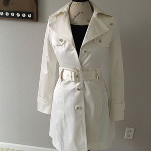 Jessica Simpson Satin Trench Coat in White